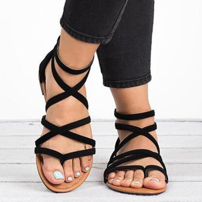 Clip Toe Cross-Tie Casual Sandals - fashionshoeshouse