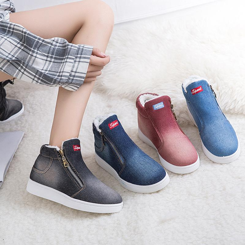 Women Winter Denim Fur Warm Platform Ankle Cowboy Boots - fashionshoeshouse