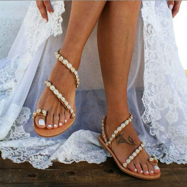 Flat Wedding Sandals Pearl Beach Sandals Boho Style - fashionshoeshouse