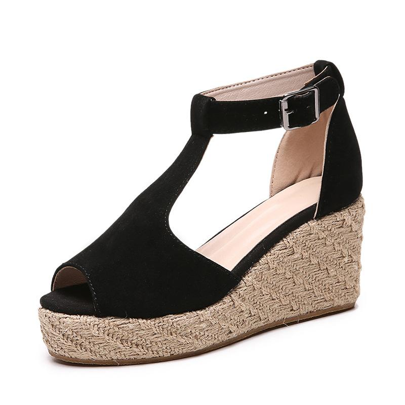Wedge Platform Hemp Rope Hollow Sandals - fashionshoeshouse