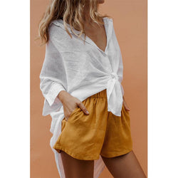 Solid Short Front V-neck Tops - fashionshoeshouse