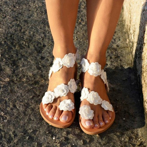 Women Flip Flops Flowers Beach Casual Flat Sandals - fashionshoeshouse