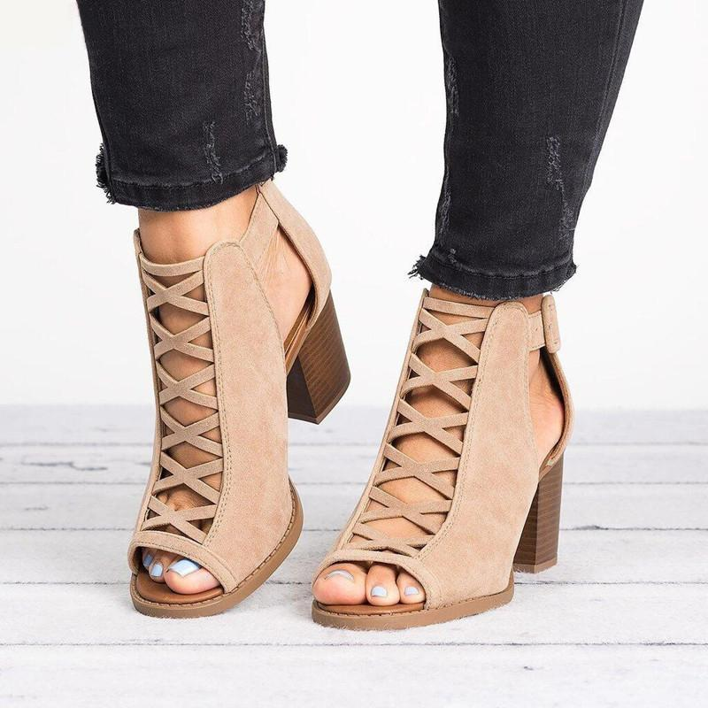 Roman Hollow Chunky Peep Toe Sandals - fashionshoeshouse