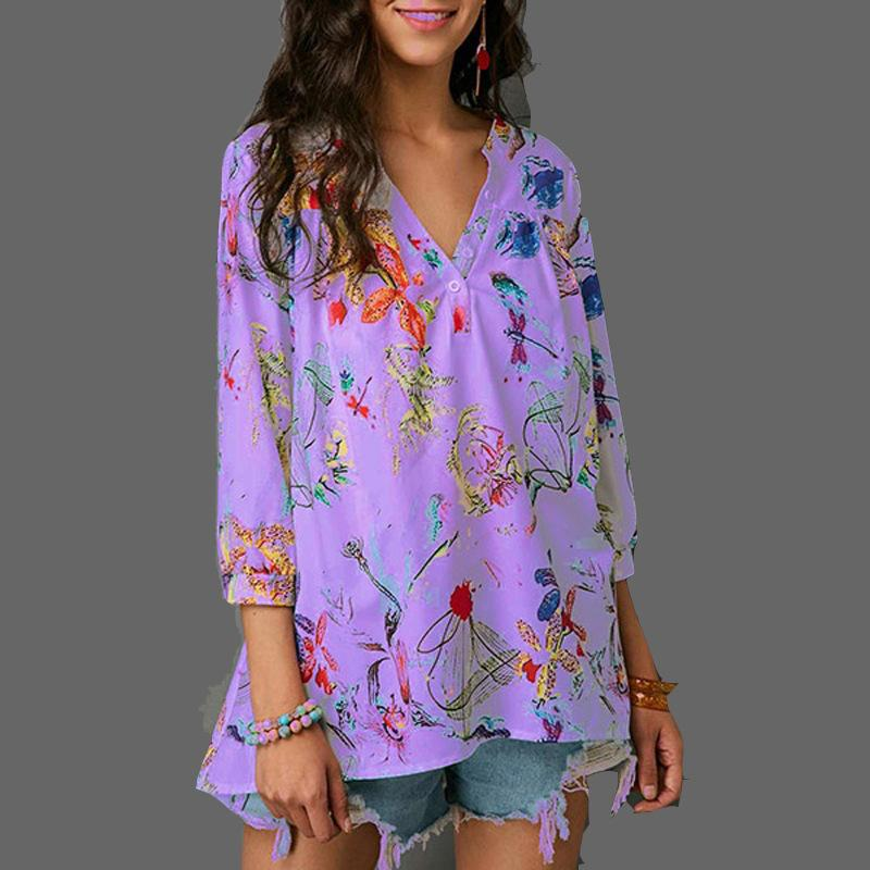 Cotton Flowers Printing V Neck Lien Blouse - fashionshoeshouse