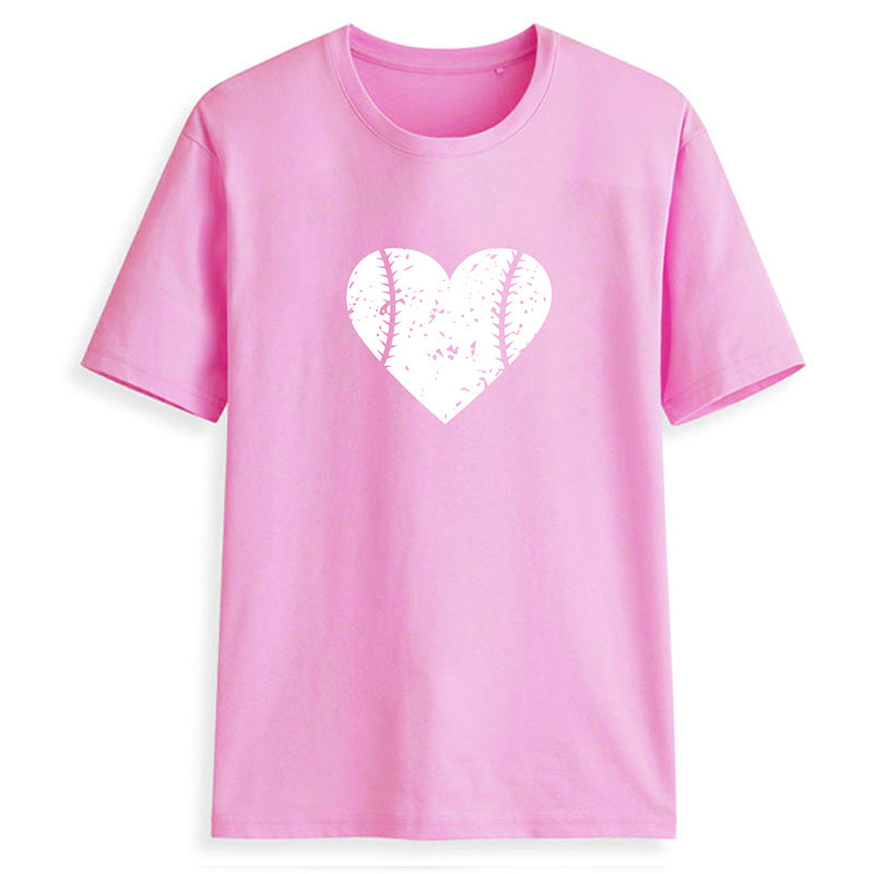 Women Casual Love Heart Print  Shirts & Tops - fashionshoeshouse