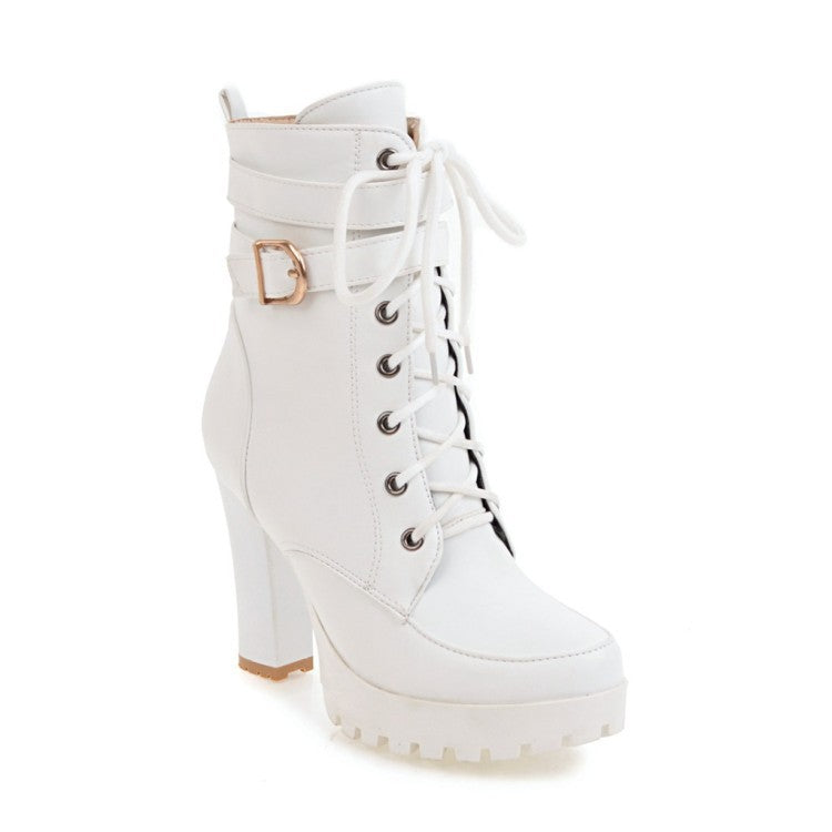 Women Buckle Strap Lace Up Heeled Combat Boots