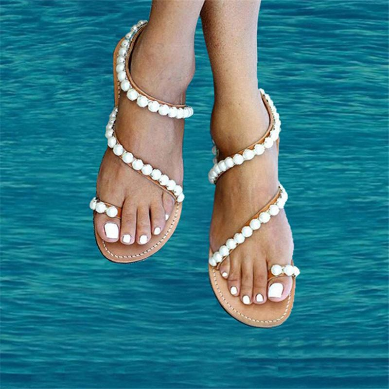 Bohemia Beads Summer Holiday Beach Flat Sandals - fashionshoeshouse