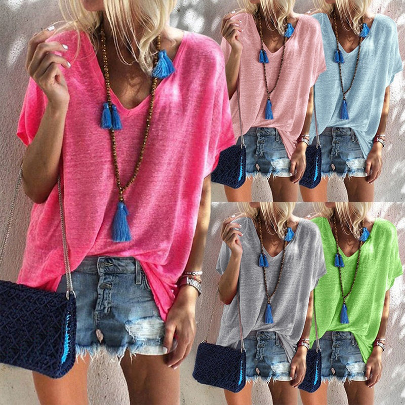 Women Pure Color V Neck Sweat Shirts & Tops - fashionshoeshouse