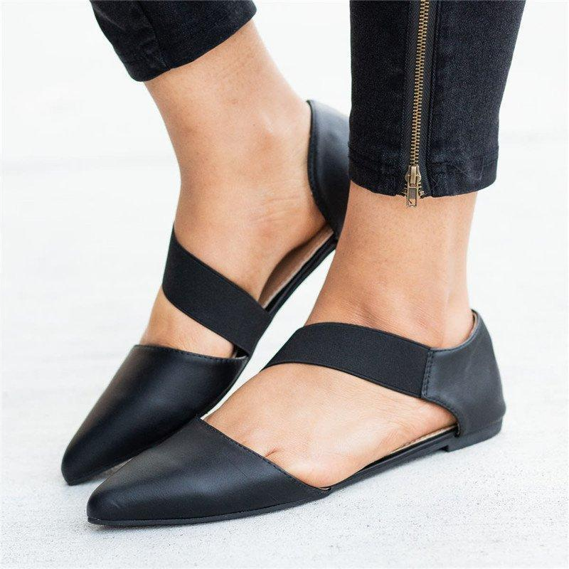New Fashion Pointed Toe Strap Flats - fashionshoeshouse