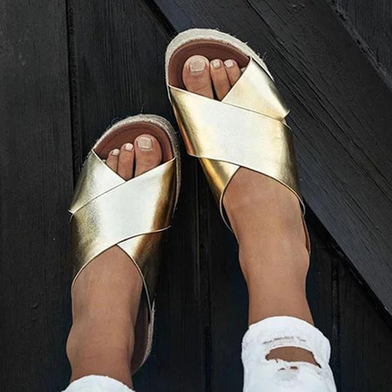 Wedge Slip On Peep Toe Beach Sandals - fashionshoeshouse
