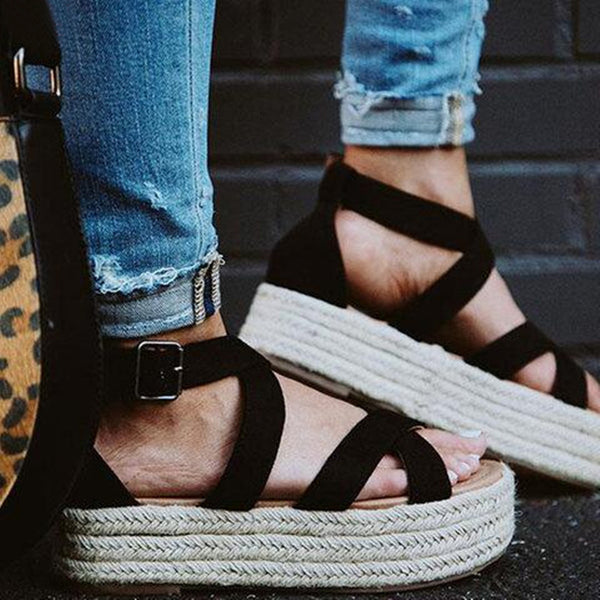 Women Espadrilles Platform Criss Cross Strappy Sandals - fashionshoeshouse