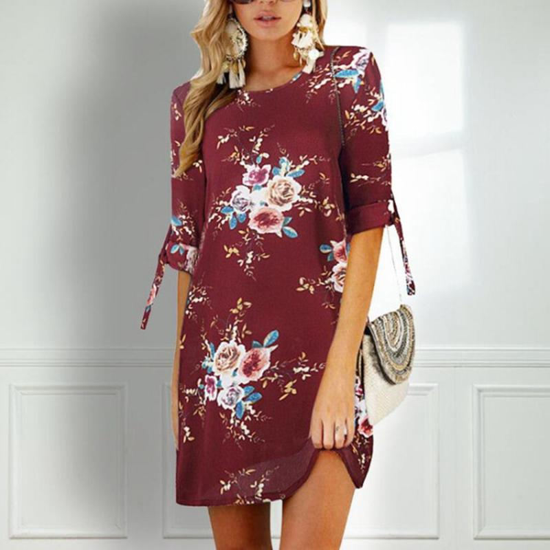 Floral Print Half Sleeve Dress - fashionshoeshouse
