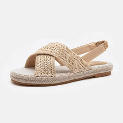 Espadrille Hemp Rope Elastic Band Shallow Flat Sandals - fashionshoeshouse