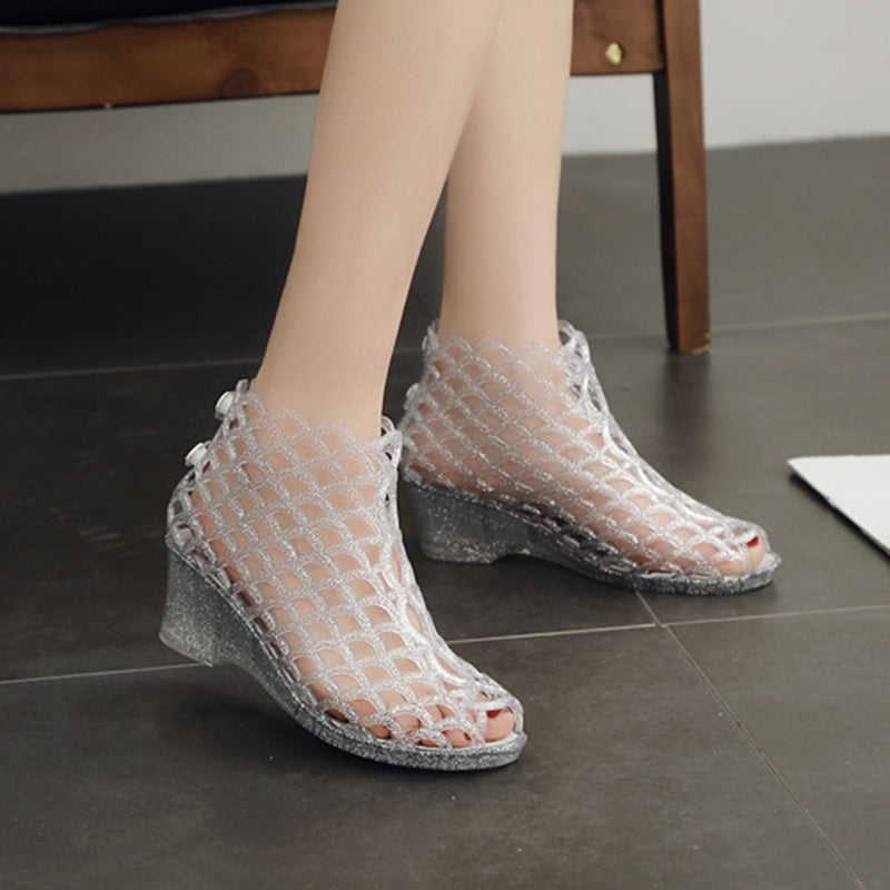 Women Wedges Hollow Out Breathable Jelly Clear Sandals