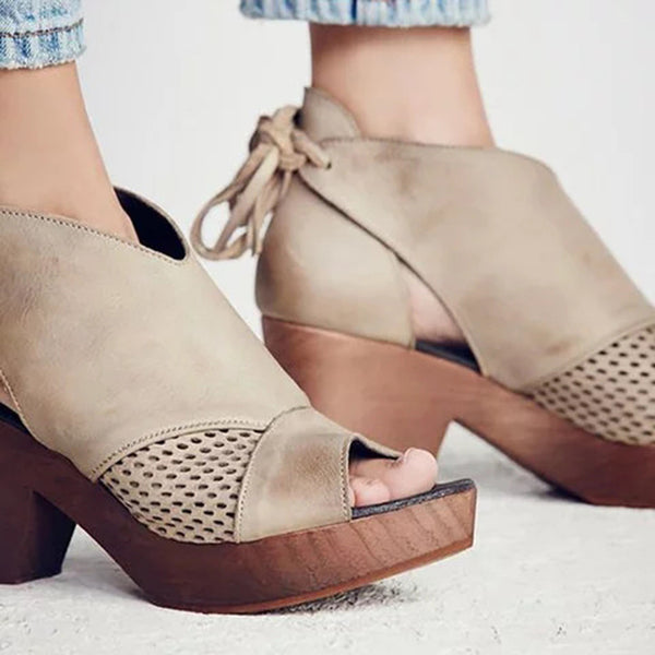 Hollow Out Lace Up Platform Chunky Heel Sandals - fashionshoeshouse