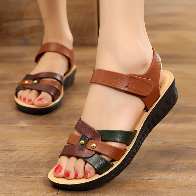 Soft Comfy Magic Tape Rubber Flat Heel Sandals - fashionshoeshouse