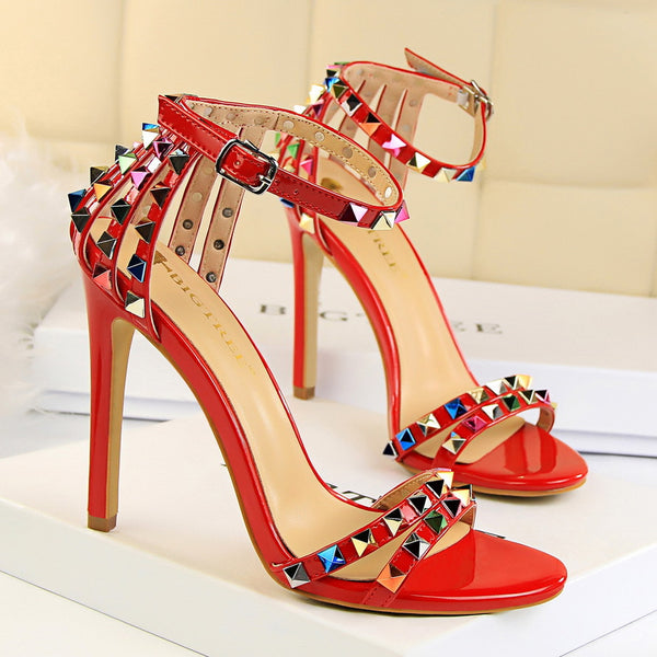 Women Ankle Strap Rainbow Studded Heel Sandals