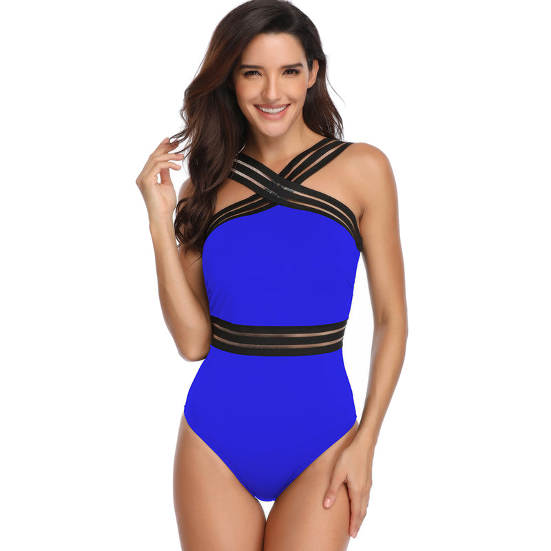 Solid Criss Cross Stripes Slim One Piece Swimsuit - fashionshoeshouse