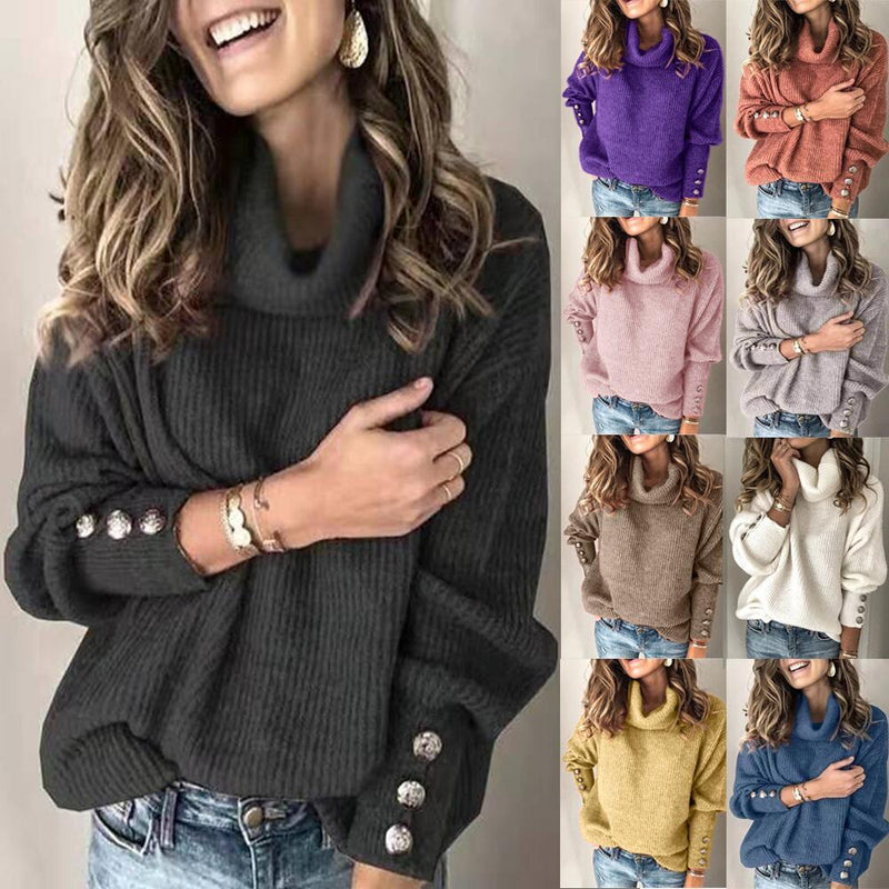 Women Plus Size Rivet Long Sleeve Plain Turtle Sweater - fashionshoeshouse