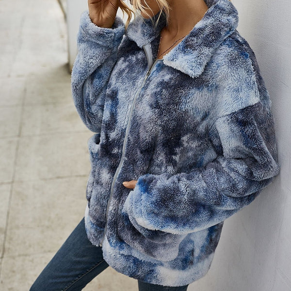 Tie dye cardigan sweater for women fashion fuzzy polo sweater coat with zipper