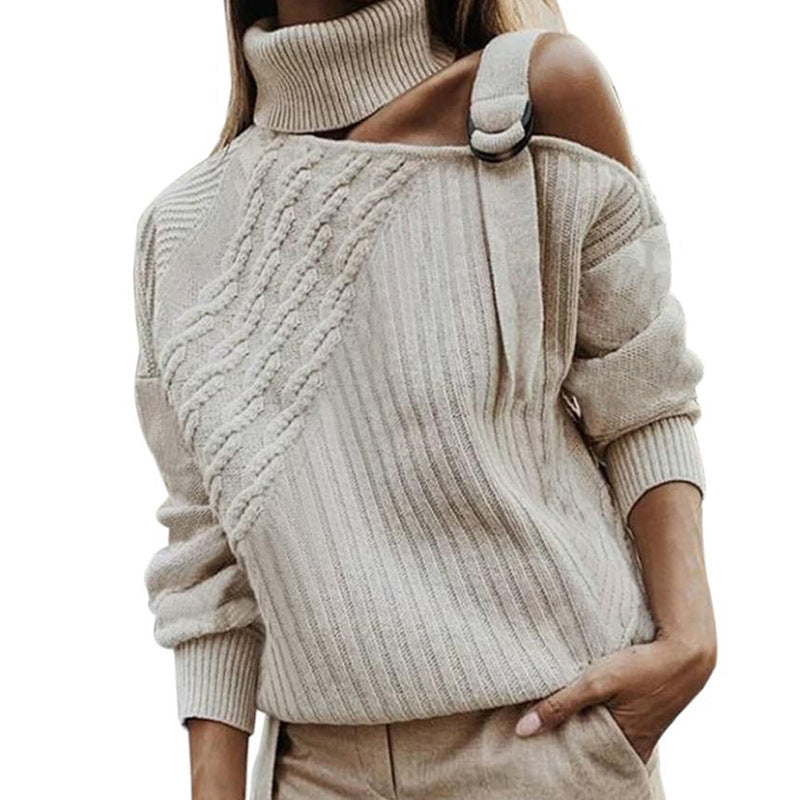 Long Sleeve One Shoulder Casual Turtleneck Sweater - fashionshoeshouse