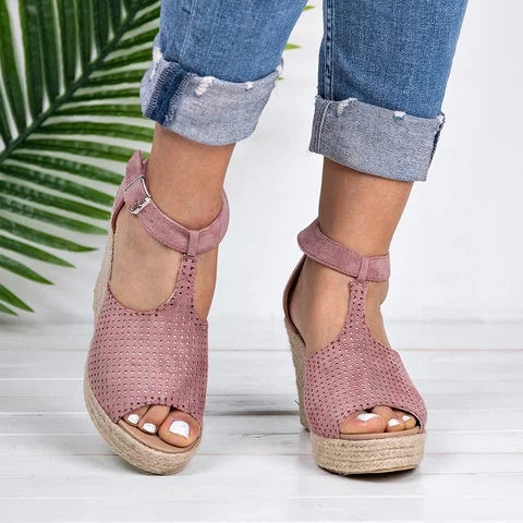 Women Fashion Adjustable Buckle Wedges Espadrille Sandals - fashionshoeshouse