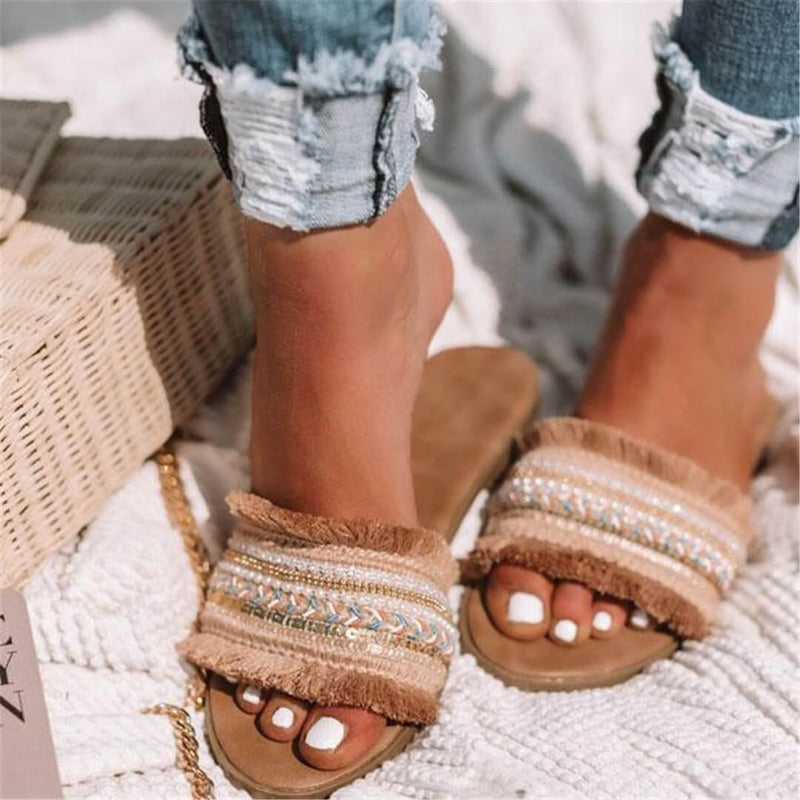 Women Bohemian Sandals Summer Flat Heel Woven Slides