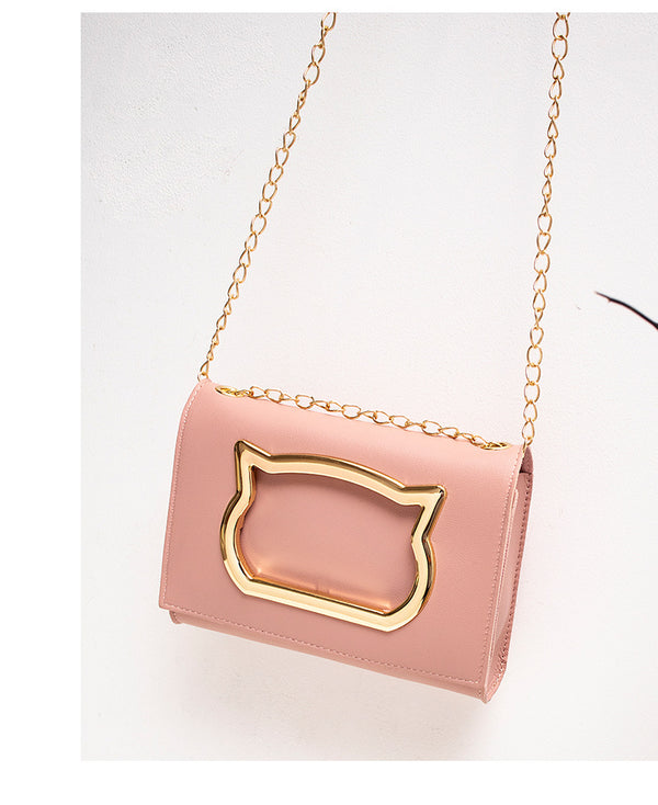 Cute Cat Pattern Shoulder Bag Phone Money Pouch Chain Crossbody Bags - fashionshoeshouse