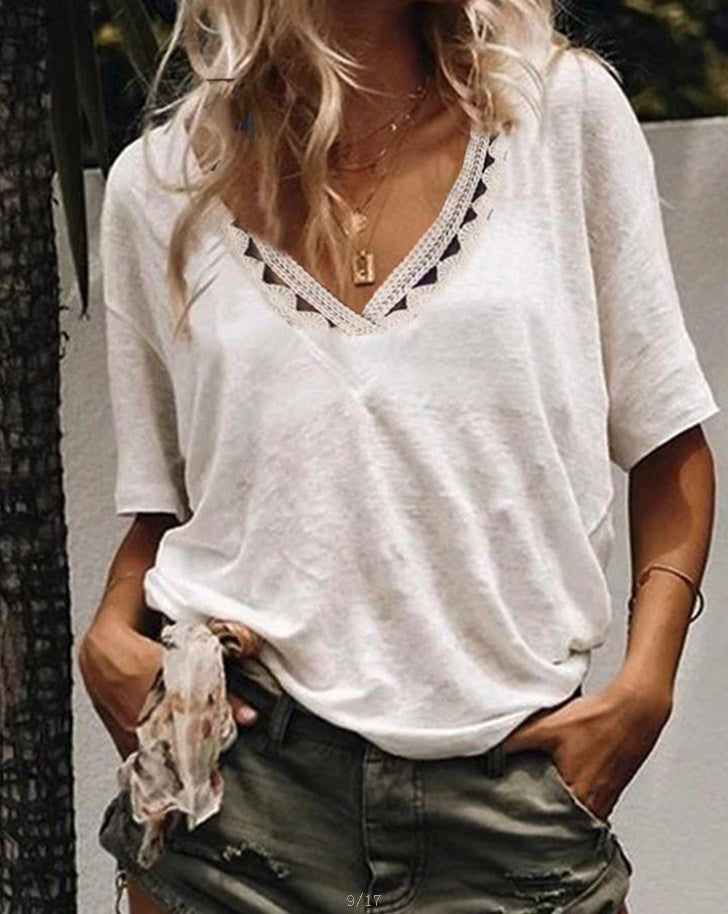 Women Short Sleeve Hollow Out V Neck Shirts & Tops - fashionshoeshouse