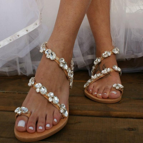 Rhinestone Date Travel Flat Wedding Sandals - fashionshoeshouse