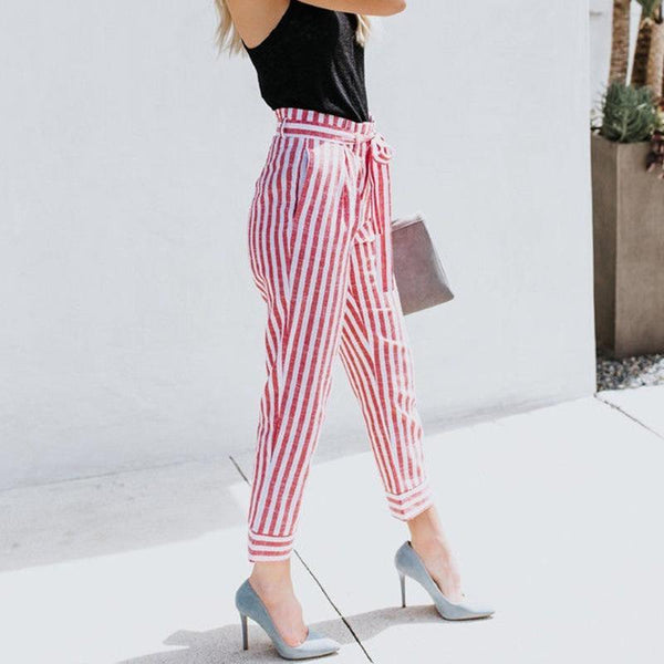 Summer Slim Loose Comfortable Stripe Pants Women - fashionshoeshouse