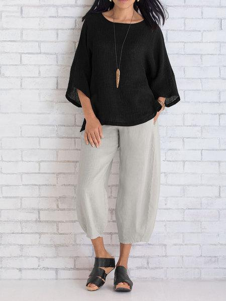 Women Wide Leg Cotton Capri Pants - fashionshoeshouse