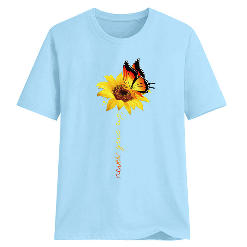 Sunflower Round Neck Short Sleeve Women Shirts & Tops - fashionshoeshouse