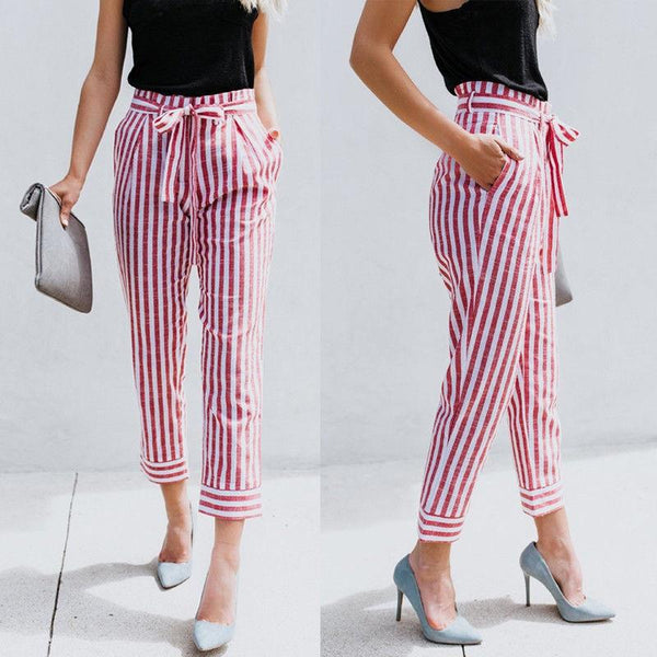 Women Summer Fashion Fitted Pinstripe Pants - fashionshoeshouse