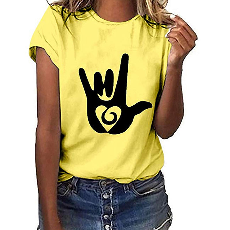 Woman Short Sleeve Casual Abstract Crew Neck Shirts & Tops - fashionshoeshouse