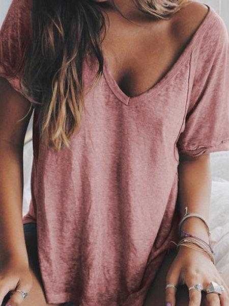 Women Summer V neck Loose T Shirt Casual Tops - fashionshoeshouse