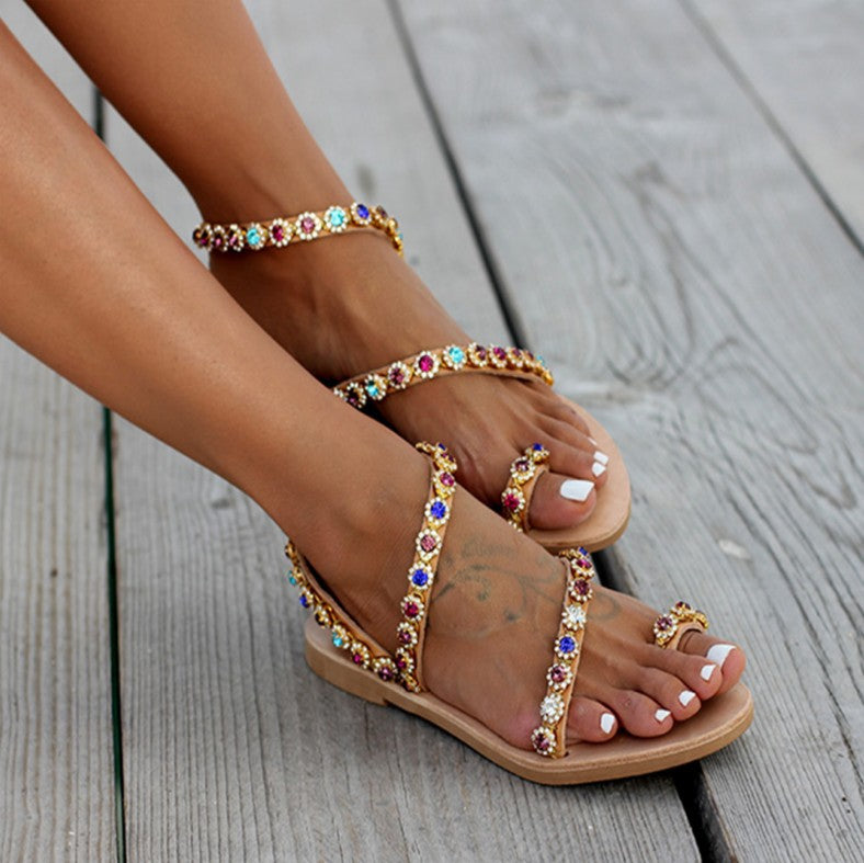 Women Bridal Rainbow Rhinestone Wedding Sandals