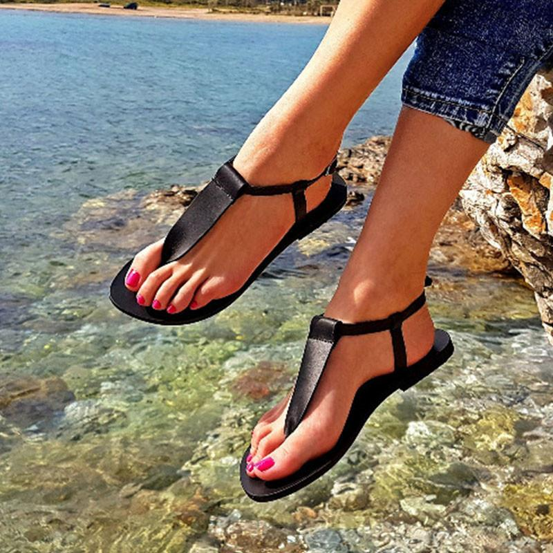 Women T-strap Flat Thong Beach Sandals - fashionshoeshouse
