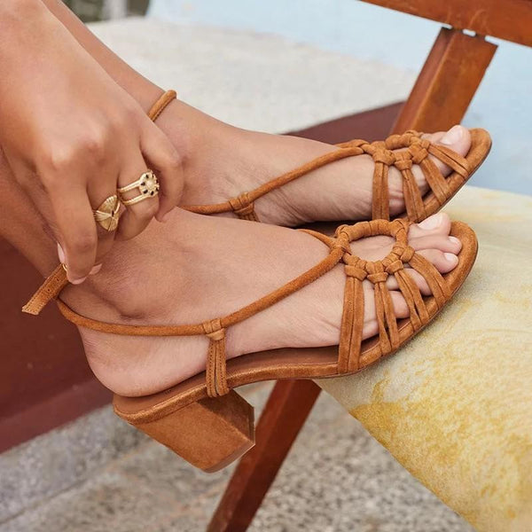 Ankle Strap Chunky Heels Peep Toe Strappy Sandals - fashionshoeshouse