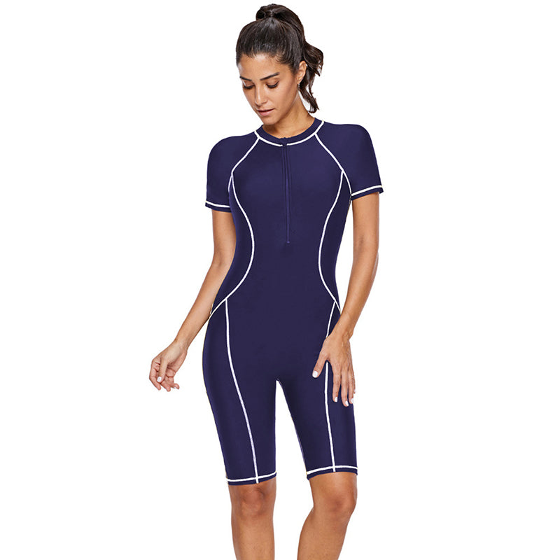 Short Sleeve Half Zipper Slim Surfing Diving One Piece Swimsuit - fashionshoeshouse