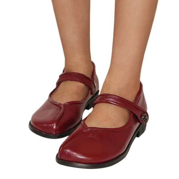 Retro Handmade Magic Tape Ankle Strap Flat Mary Jane Loafers - fashionshoeshouse