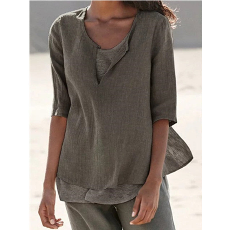 Womens Half Sleeve V Neck Cotton Solid Tops - fashionshoeshouse