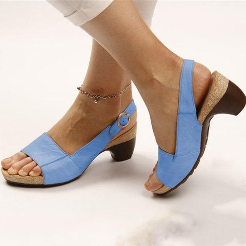 Elegant Comfy Comma Heels Adjustable Buckle Strap Sandals - fashionshoeshouse
