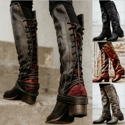 Women Retro Laces Tassel Over The Knee Boots