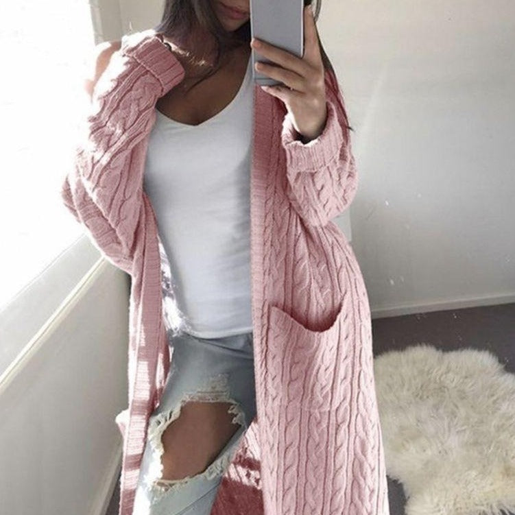 Solid Twist Flowers Long Cardigan Sweaters For Women - fashionshoeshouse