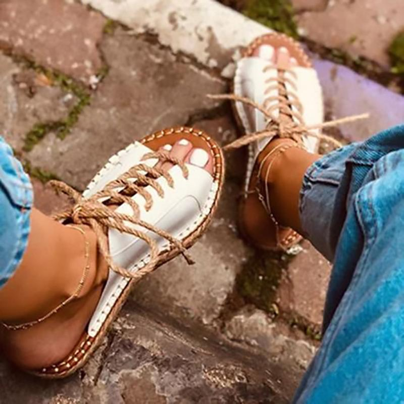 Women Roman Casual Summer Lace Up Comfort Slide Sandals - fashionshoeshouse