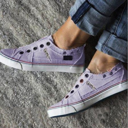 Women Zipper Daily Canvas Slip-on Athletic Sneakers - fashionshoeshouse