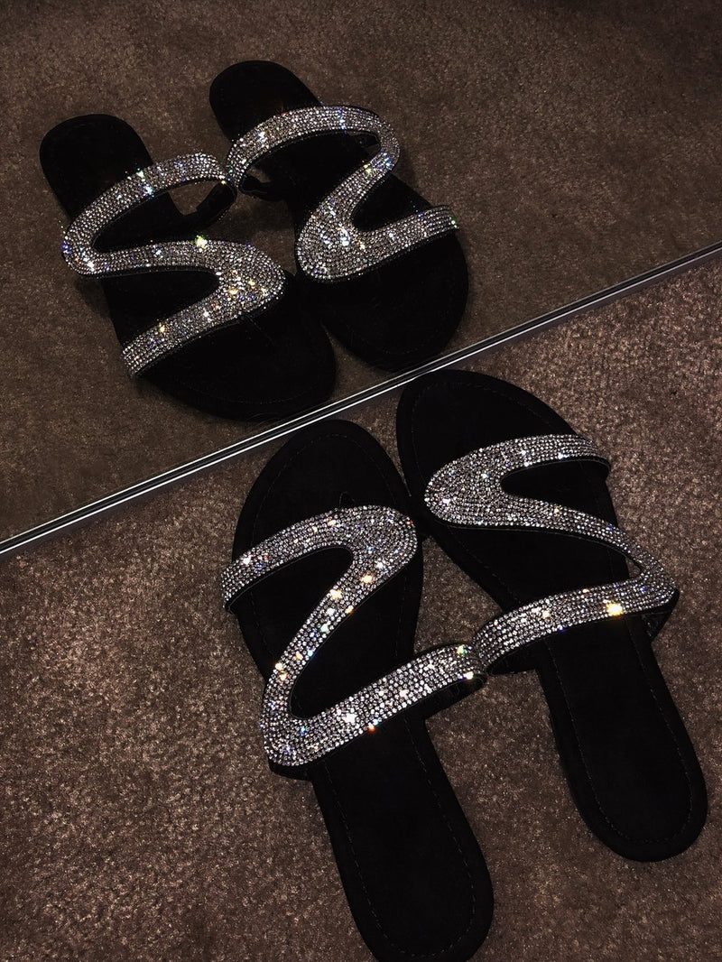 Women's slide sandals rhinestone sparkly sandals flat heel - fashionshoeshouse