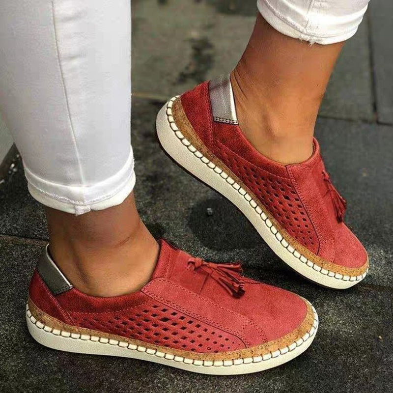 Fringe Tassels Hollow Out Women Sneakers Round Toe Slide Sneakers - fashionshoeshouse