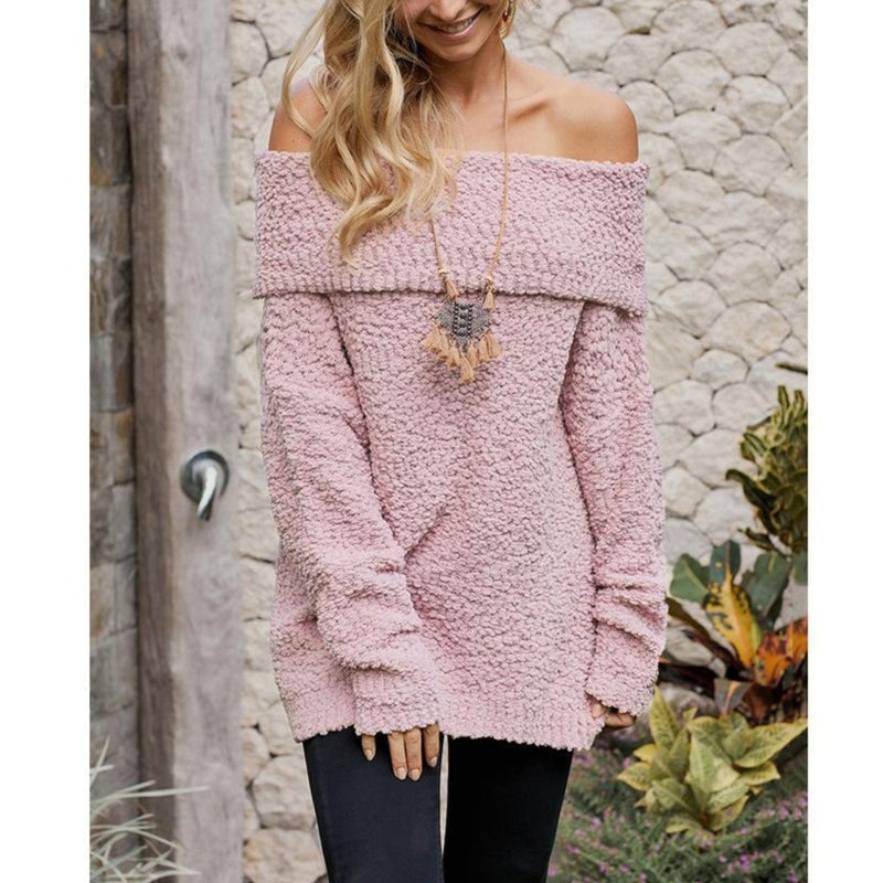 Women Pure Color Knitted Off The Shoulder Sweater - fashionshoeshouse